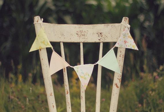 Wedding Chair Decorations / Beach Wedding Decorations / Shabby Chic Wedding Decor / Wedding Chair Decor / Fabric Bunting / Vintage Wedding