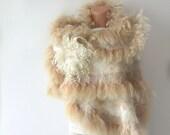 Felted scarf Fur  Wedding   wrap White beige gift brooch cape