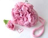 Felted handbag flower Pink Rosa flower