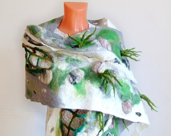 Felted  scarf,  Grey felt scarf Textile Art , Unique scarf , Woman wet felt scarf by Galafilc