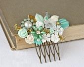 Bridal Hair Comb - Beach Wedding Hair Accessories, SeaGlass Green Wedding Bridal Hair Accessory, Summer Bride, Vintage Something Blue