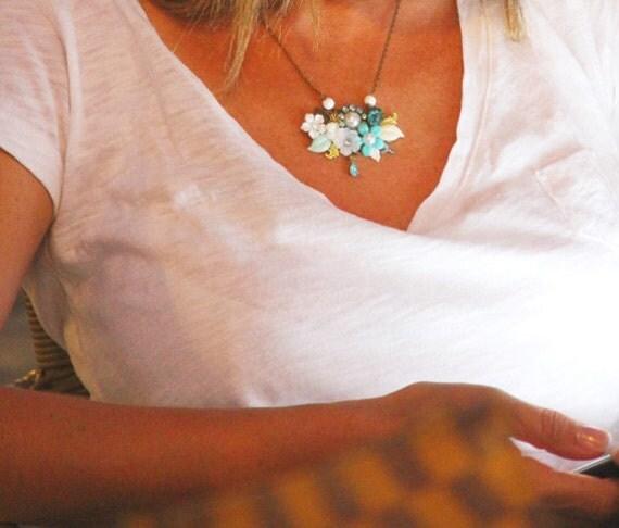 Statement Romantic Necklace - Turquoise Blue Vintage Style Necklace, Collage Necklace, Bridal Necklace, Wedding Something Blue, Rhinestones