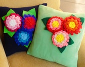 Flower Fabric Tutorial Felt Sissi  pillow embelishment - Chrysanthemum and leaves - fabric or felt - hair accessory or decorative pillow