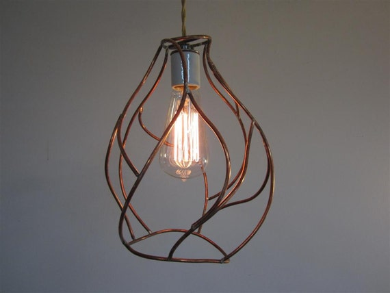 Bare Bulb Pendant Lamp - Industrial Cage Lighting - Artistic Copper Sculpture
