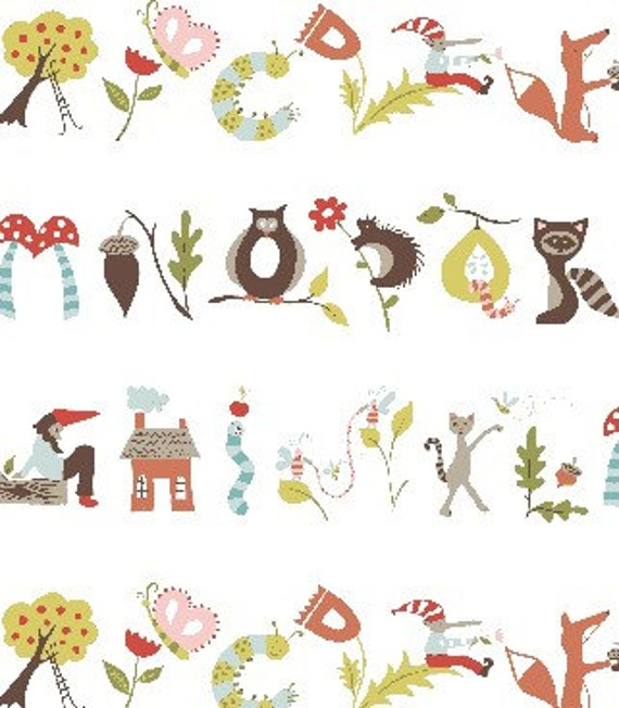 monaluna -Fox Hollow- a is for apple-Organic Cotton Fabric - low shipping