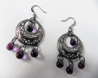 Earrings Neo-Victorian Metals Hematite Earrings with Purple Glass Teardrops Now On Sale!