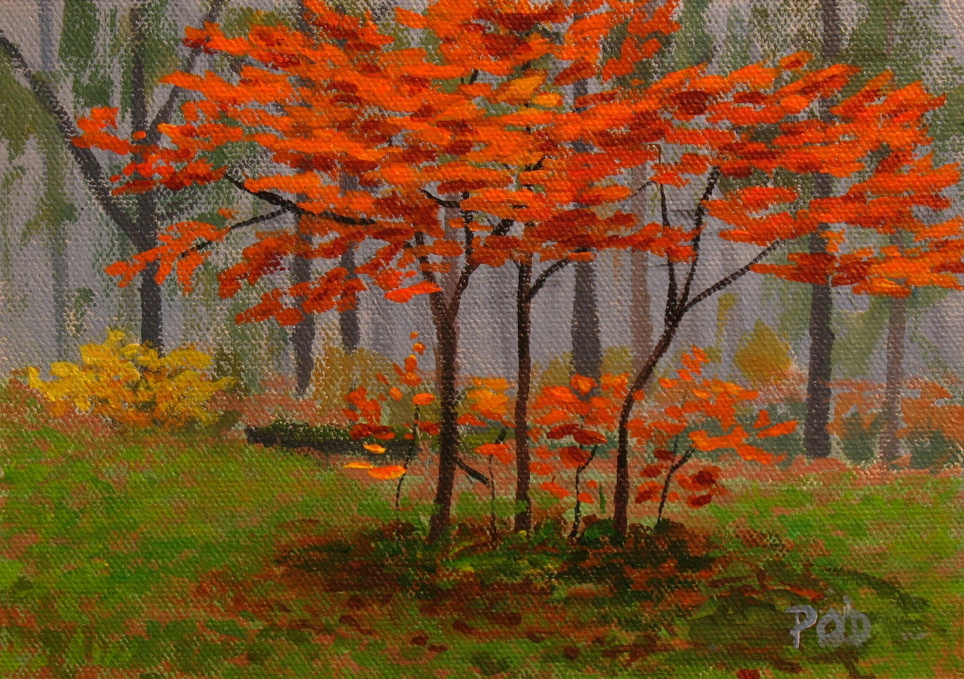 Simple acrylic landscape paintings the for Fall paintings easy