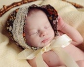 newborn baby girl  floral lace fabric hat bonnet ReAdY tO sHiP