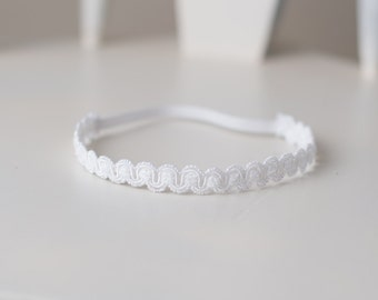 white Newborn baby girl halo headband photo prop READY TO SHIP