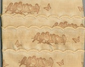 SONG BIRDS  tea dyed linen ribbon scalloped edges  handmade gift wrap 2.5 .  c749 . ....oohlala