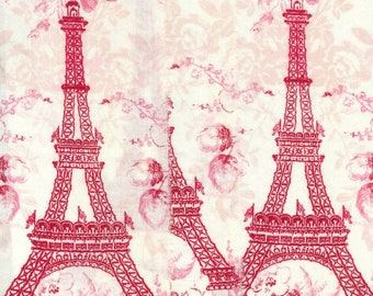 ribbon valentine red  Eiffel tower Paris France  hand torn ribbon 3.5 wide  . c751 . ....oohlala