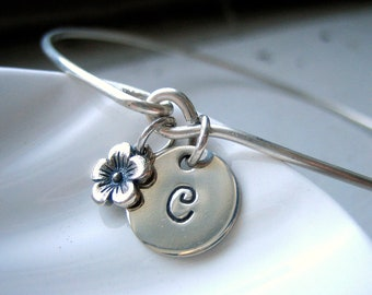 Silver Initial  & Flower Bangle Bracelet - Hand Stamped Charm - Sterling - Custom Personalized