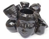 Pot Head Face Vase Ikebana Portrait Bust Sculpture Pottery Jar Cup Bowl Assemblage