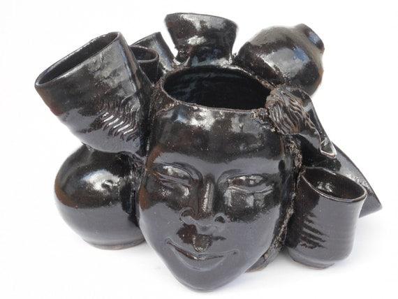 Pot Head Face Vase Ikebana Portrait Bust Sculpture Pottery Jar Cup Bowl Assemblage