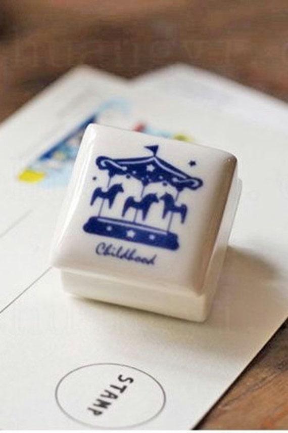 japanese Hanko CAROUSEL Horses Ceramic Rubber stamp