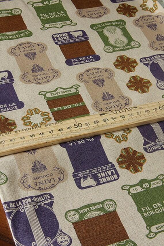 japanese Kokka Trefle THREAD SPOOL bobbin natural vintage design linen and cotton mix fabric