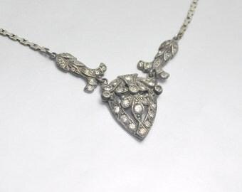 Art Deco Necklace Vintage Sterling Silver Rhinestone