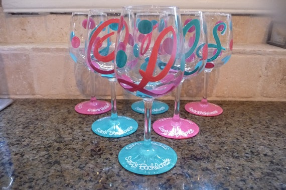 Hand painted Personalized Wine Glasses for Bachelorette Party etc