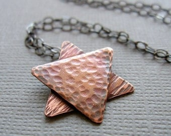 Jewish Star of David Necklace Rustic Copper Men Women Unisex
