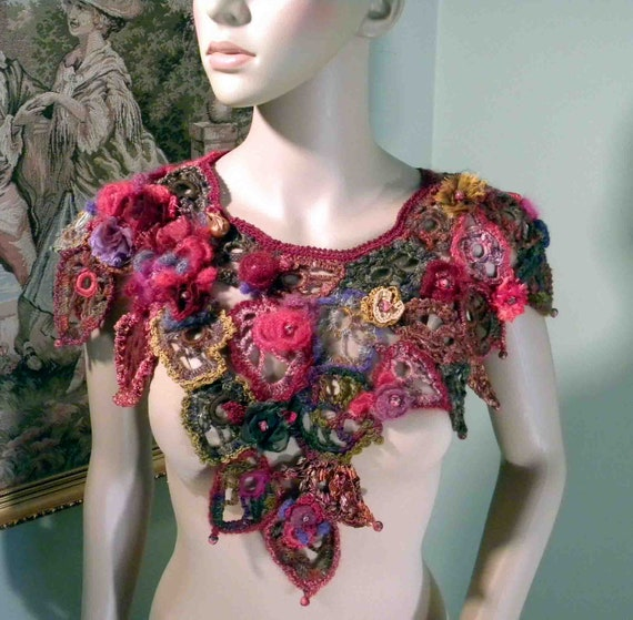 FALLEN LEAVES RHAPSODY - Unique Collar/Capelet, Signature Garment, Wearable Fiber Art, Richly Decorated, Freeform Crocheted