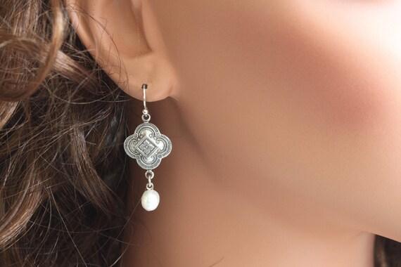 Fresh Water Pearl Earrings, Dainty Earrings, Drop Earrings, Antique Silver Filigree, Pearl Earrings