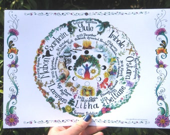 Hand drawn Wheel of the Year chart, A4 Pagan, Hippy