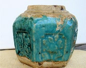 Antique Chinese Ginger Jar Hexagonal Turquoise Glaze Rustic Pottery 1800s Gorgeous