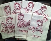 Little Mrs. Days of the Week Red-Work Embroidered Towels
