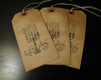 SET of 3 Large Primitive Halloween Candelabra Hang Tags