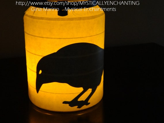 Halloween Lantern RAVEN Crows Double sided