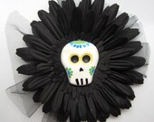 Hair Clip / Brooch Day of the Dead Skull and Black Flower with Tulle
