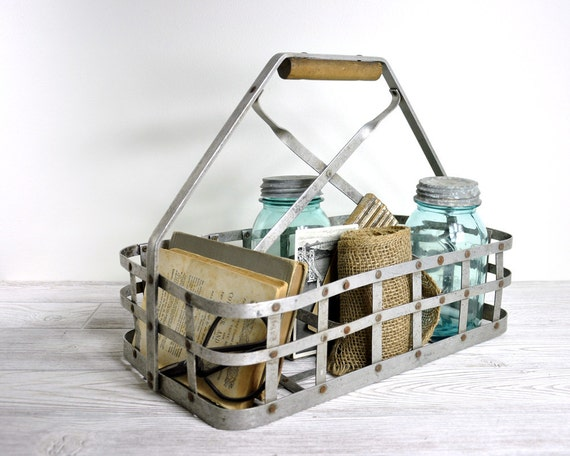 Vintage Metal Milk Bottle Carrier / Industrial Decor