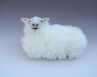 Colin's Creatures Handmade Sheep FIgure, Welsh Mountain Sheep Lying
