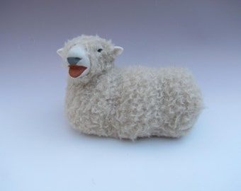 Handmade Sheep Figures, English Southdown Sheep Lying Baaing