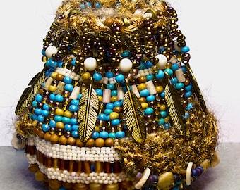 Little Feather's Basket- beadwoven basket- miniature beadwoven basket- mixed media basket- bead art- tribal basket- art object- fiber art