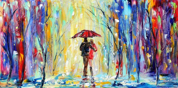 Colors of Rain oil on canvas Landscape palette knife painting ABSTRACT modern texture fine art impressionism by Karen Tarlton