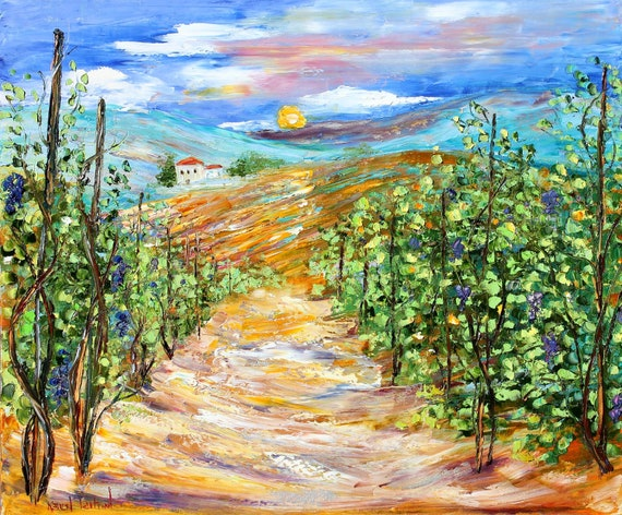 Original Napa Valley California Landscape painting Palette Knife Oil on Canvas Contemporary Modern Art fine art by Karen Tarlton