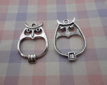 10pcs antique silver owl findings 34x25mm
