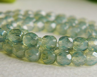 Czech Glass  Beads Fire Polished Faceted Round Crystal Opal with Peridot Green Luster Finish 5mm (40pcs) NEW