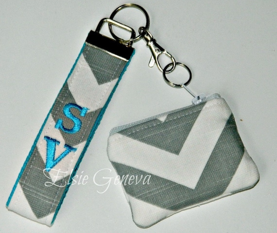 Personalized Chevron Gray and Turquoise Blue Tooth Case - Pouch & Key Fob - Chain - Wristlet or Any Color Combo