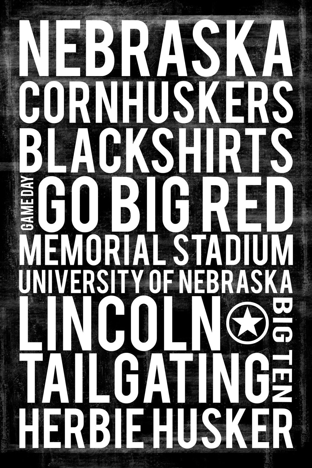 university of nebraska subway art 16 x 20 by littlecozyhouse. Black Bedroom Furniture Sets. Home Design Ideas
