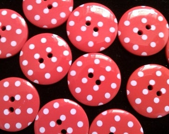 10 pcs Cute Retro Style Buttons 33 mm Red Color