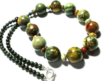Picasso Jasper Necklace Wearable Art Jasper Bead Necklace with Sterling
