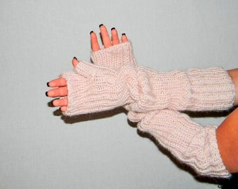 Hand knit arm warmers. Alpaca blend. Pale pink. Long hand warmers Fingerless gloves. Elbow length. Christmas gift for her. Winter fashion