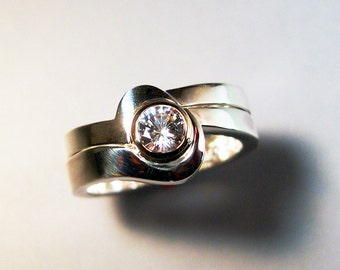 White Sapphire Wedding ring, Engagement Ring, Sterling Silver, 14k Gold