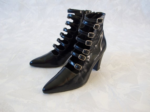 Vintage 90's Buckle Ankle Boots /Goth Club Kid Black High Heel Boots / Size 8 1/2