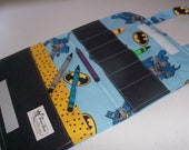 Yellow Blue Black Batman Super Hero Ready-to-Go Childs Travel Crayon Tote with  6 crayons - Shipping included