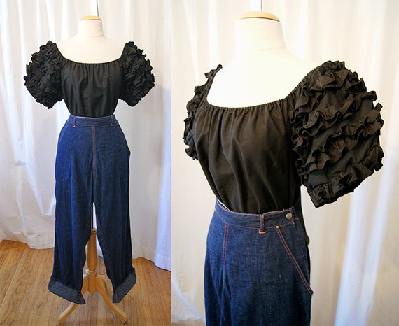Sexy 1950's black cotton off the shoulder ruffle rhumba peasant blouse vlv vixen rockabilly pin up - size Large to XL