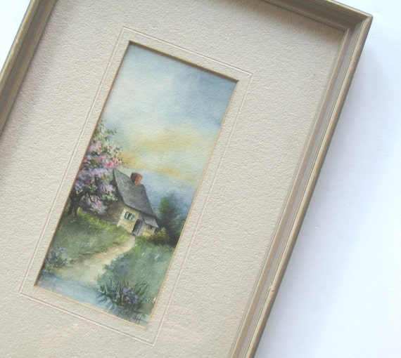 Framed Watercolor Cottage, Vintage Antique Original Art, Vintage Watercolor Painting