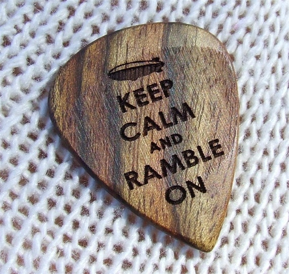 Keep Calm and Ramble On - Handmade Laser Engraved Exotic Wood Guitar Pick - Caribbean Rosewood